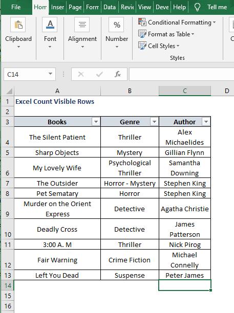 Excel book - Excel Count Visible Rows