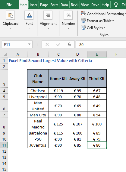 Excel Sheet - Excel Find Second Largest Value with Criteria