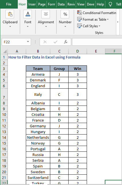Excel Sheet - How to Filter Data in Excel using Formula