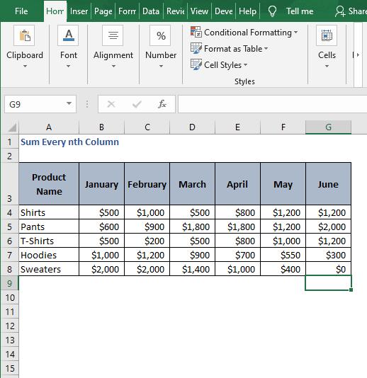 Excel sheet - Sum Every nth Column