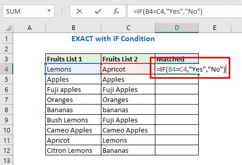 Enter formula using IF function