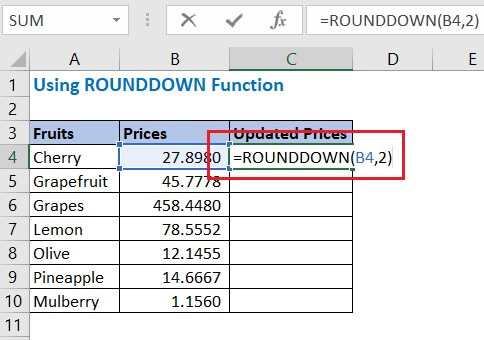 Enter the formula using ROUNDDOWN in cell C4