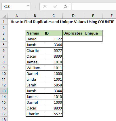 How to Find Duplicates and Unique Values Using COUNTIF