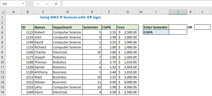 Using MAX IF formula with OR logic