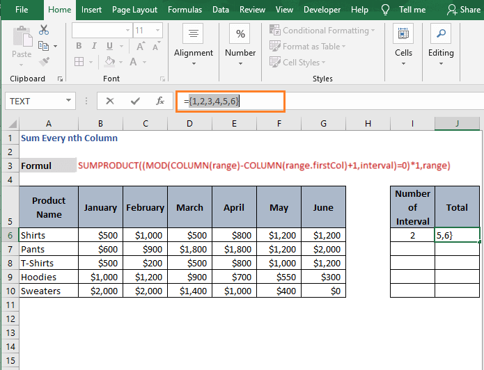 Column Reference result - Sum Every nth Column