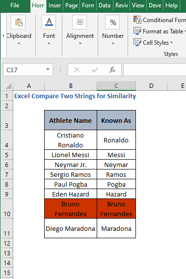 Result - Excel Compare Two Strings for Similarity