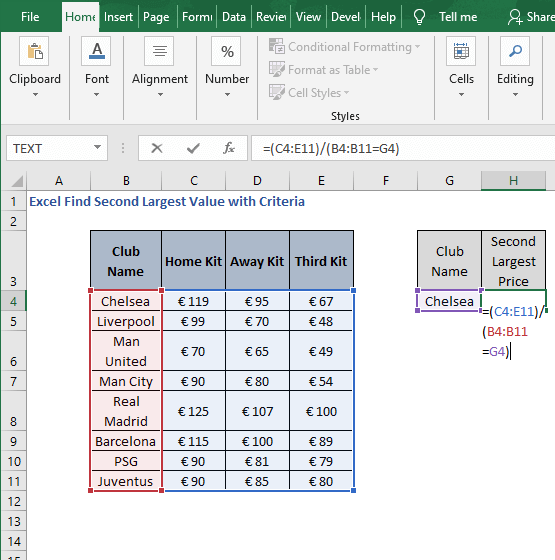 range array -Excel Find Second Largest Value with Criteria