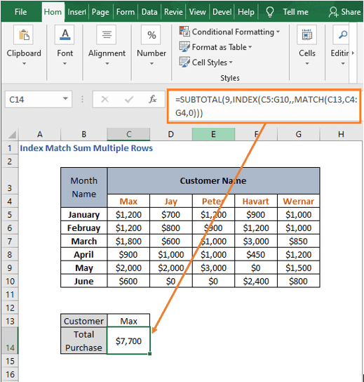 SUBTOTAL result-Index Match Sum Multiple Rows