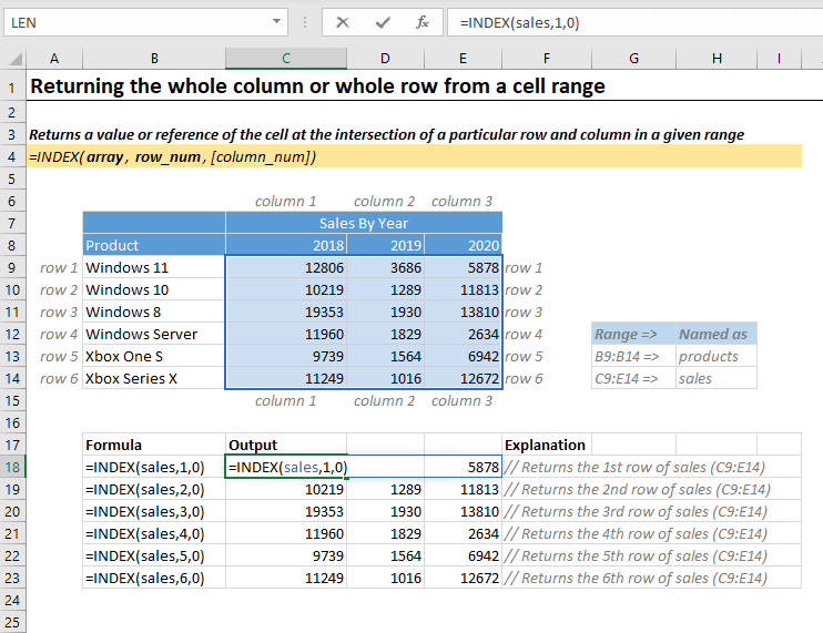Return whole column or range in excel using Index Function
