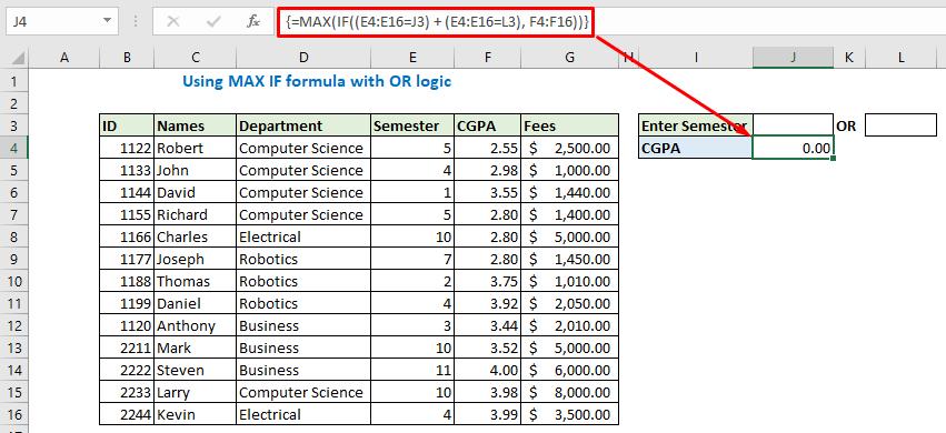 Enter the formula and press ctrl+shift+enter