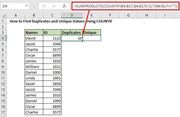 Find duplicate using COUNTIF