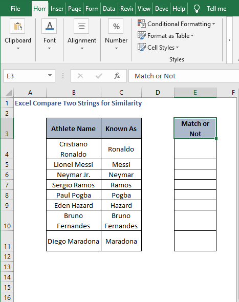 Match scenario - Excel Compare Two Strings for Similarity