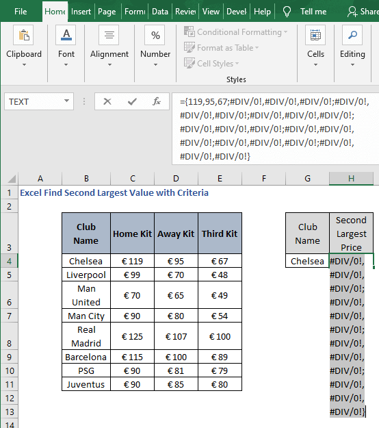range array output-Excel Find Second Largest Value with Criteria