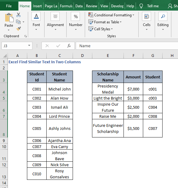 Scenario students - Excel Find Similar Text In Two Columns