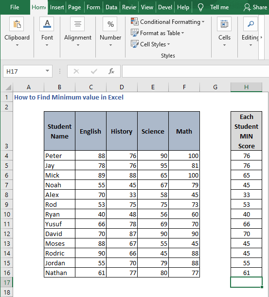 AutoFill SMALL for row - How to Find Minimum value in Excel