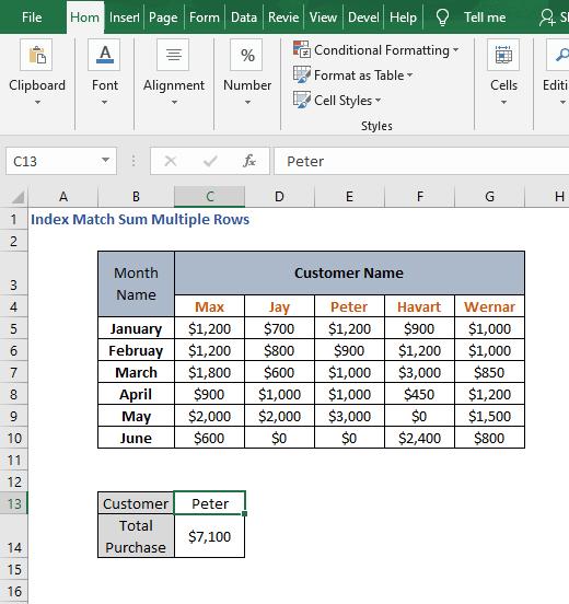 Example SUBTOTAL - Index Match Sum Multiple Rows