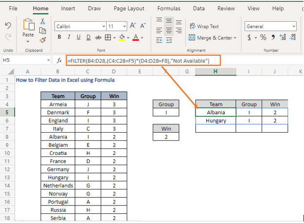 AND logic - How to Filter Data in Excel using Formula