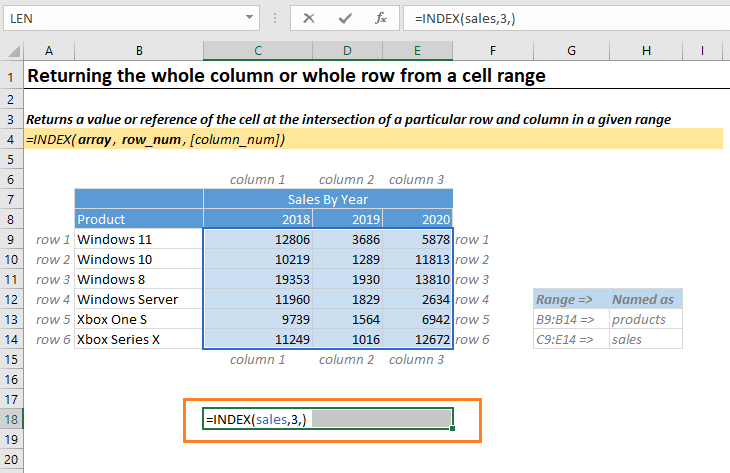 Return the whole column or range in Excel