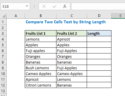 Compare Two Cells Text by String Length
