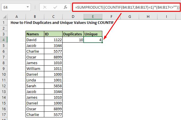 find unique value using countif function