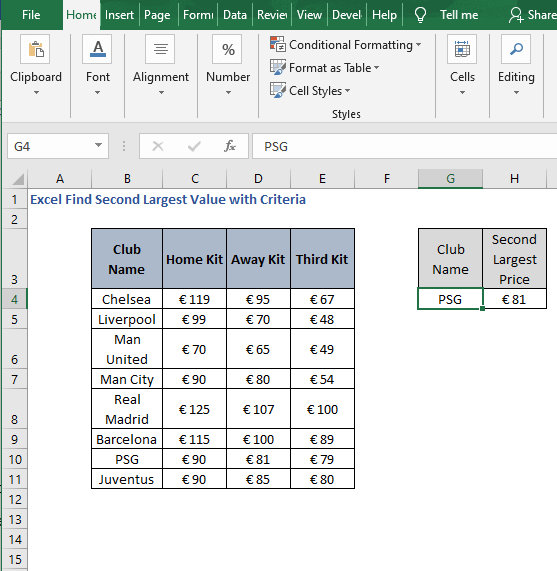 Example of AGGREGATE- Excel Find Second Largest Value with Criteria