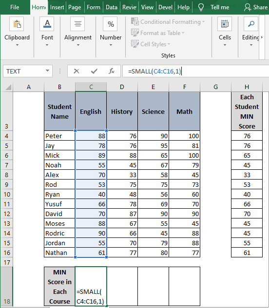 SMALL for column -How to Find Minimum value in Excel