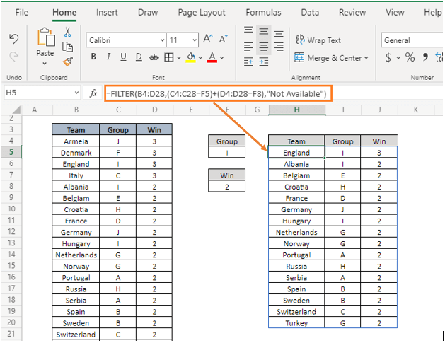OR logic - How to Filter Data in Excel using Formula