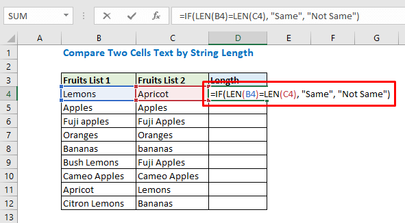 Enter formula using IF and len function