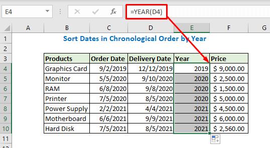 Enter formula using Year
