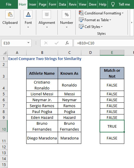 AutoFill results - Excel Compare Two Strings for Similarity
