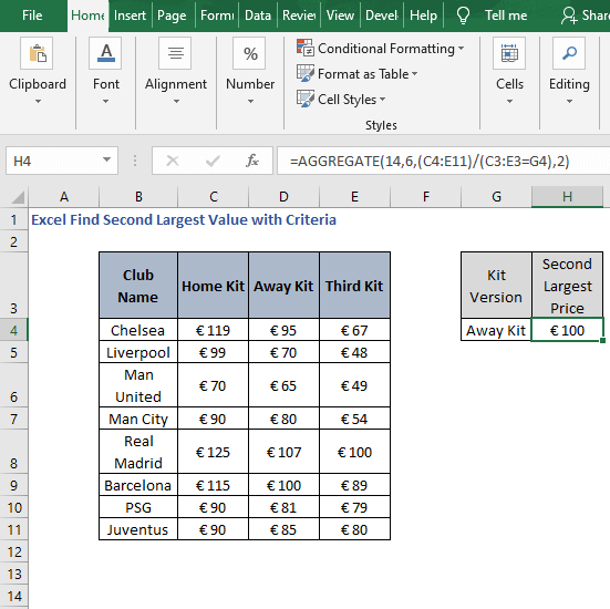 Version criteria example - Excel Find Second Largest Value with Criteria