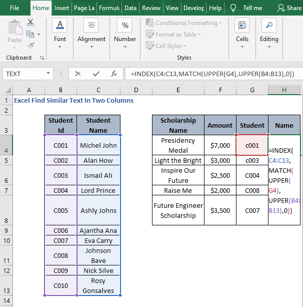 INDEX - MATCH - Excel Find Similar Text In Two Columns