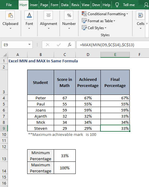 Autofill result - Excel MIN and MAX In Same Formula