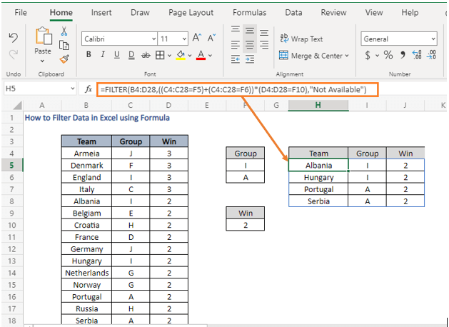 AND- OR logic - How to Filter Data in Excel using Formula