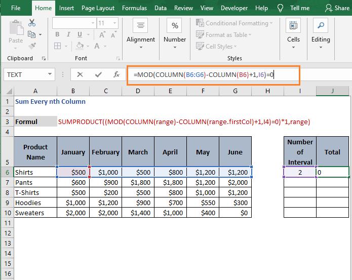 MOD check - Sum Every nth Column