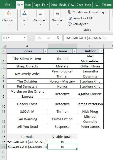 Aggregate 3-3 result - SUBTOTAL 102 filter result - Excel Count Visible Rows