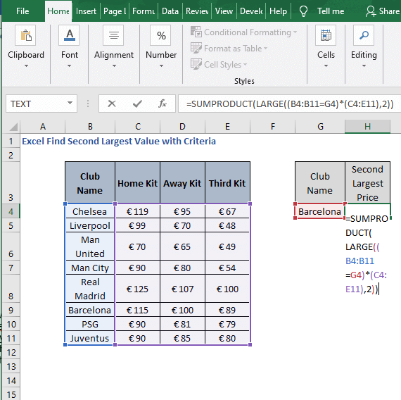 SUMPRODUCT-Excel Find Second Largest Value with Criteria