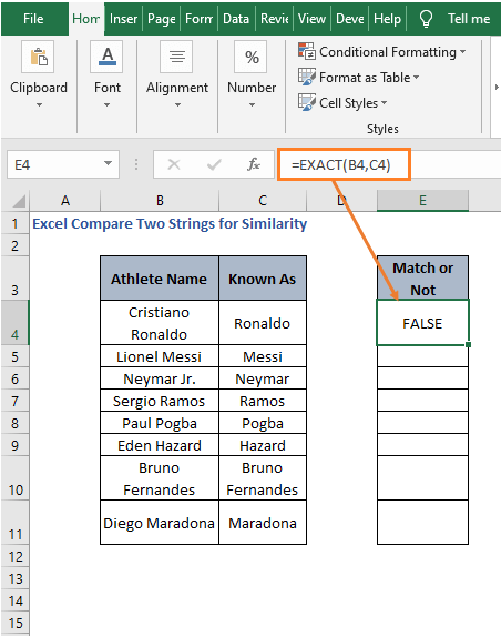 EXACT - Excel Compare Two Strings for Similarity