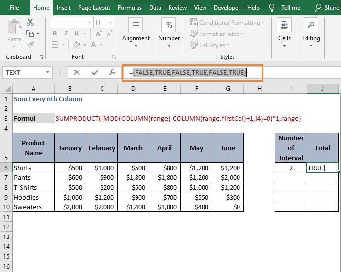 TRUE - FALSE array -Sum Every nth Column