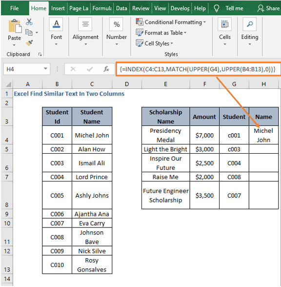 Result of INDEX-MATCH - Excel Find Similar Text In Two Columns