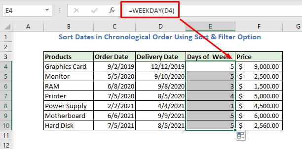 Enter formula using Weekday