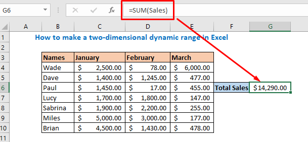 use sales for sum function