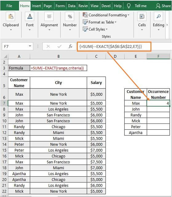 SUM-EXACT - Excel Count Number of Occurrences of Each Value in a Column