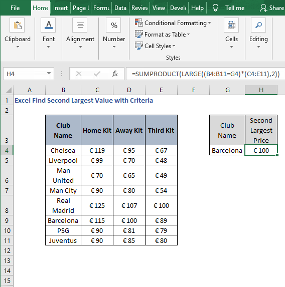 SUMPRODUCT result-Excel Find Second Largest Value with Criteria