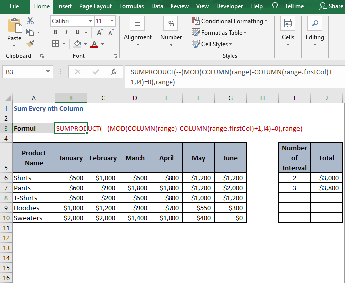 Formula with unary operator- Sum Every nth Column