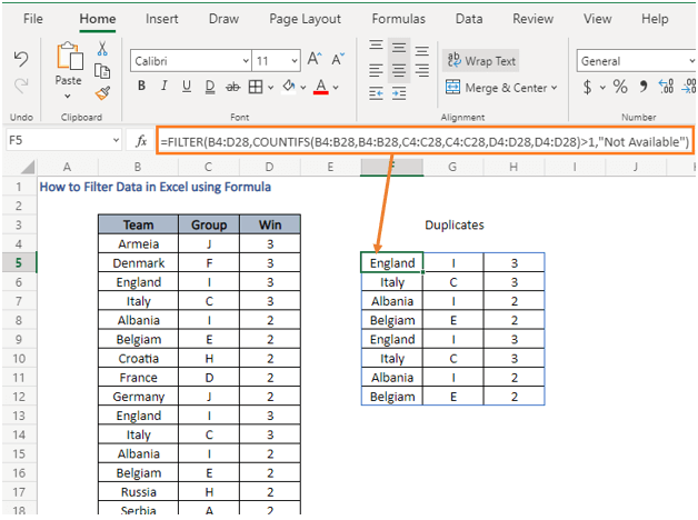 Duplicates - How to Filter Data in Excel using Formula