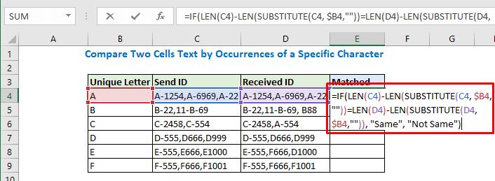 Enter the formula in cell E4