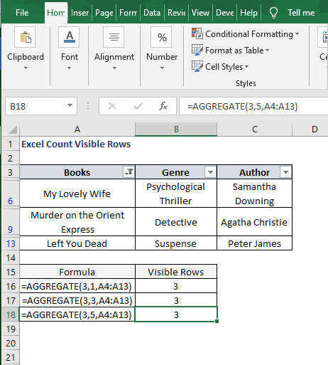 AGGREGATE 3-5-SUBTOTAL 102 filter result - Excel Count Visible Rows