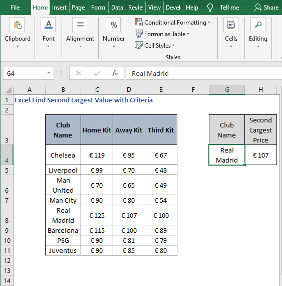 Example of SUMPRODUCT-Excel Find Second Largest Value with Criteria -