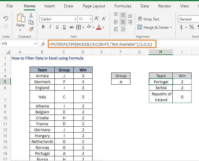 Non adjacent - How to Filter Data in Excel using Formula